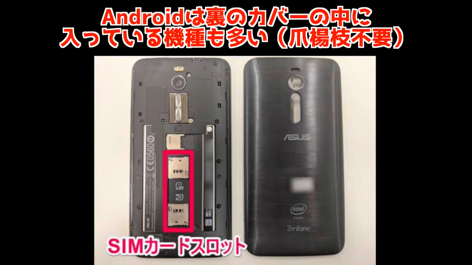 AndroidのSIMカードスロット